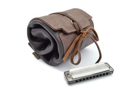 leather harmonica case